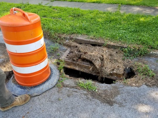 A catch basin in desperate need of repair was repaired by Veolia on July 17.