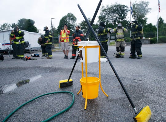 A fire equipment decontamination station set up for a training session at the Dutchess County Emergency Response Center in Poughkeepsie on July 11, 2019.  These stations are going to be set up at active fire scenes so firefighters can decontaminate their equipment before toxic chemicals can seep into their system.