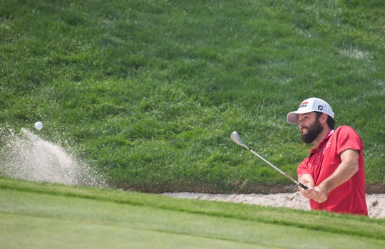 Robert Streb hits out of a bunker on the 5th hole during the Barracuda Golf Championship at Montreux on Aug.  4, 2018.