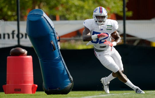 Buffalo Bills linebacker Corey Thompson runs a drill during practice at the NFL football team's training camp at St. John Fisher College on July 29, 2018.