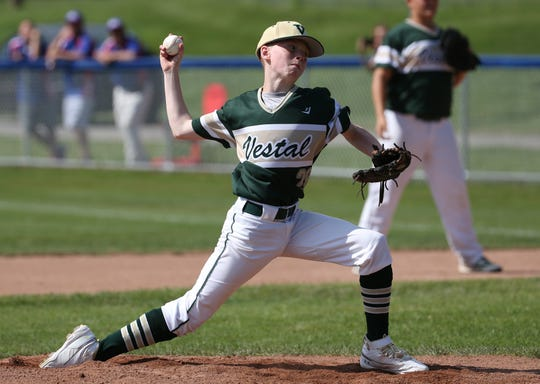 Vestal's Jake Gdoven (28) pitches against Oceanside during State Little League playoffs in Penfield.