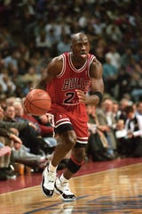 Feb 15, 1996;  Auburn Hills MI, USA; FILE PHOTO; Chicago Bulls guard Michael Jordan (23) in action against the Detroit Pistons at the Palace at  Auburn Hills. The Bulls beat the Pistons 112-109 in overtime. Mandatory Credit: Matthew Emmons-USA TODAY Sports