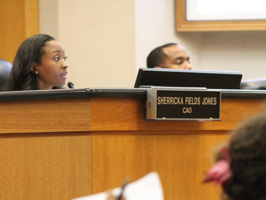 Sherricka Fields Jones at a City Council meeting May 14.