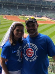Christi Johnson and fiance Roy Lang III at Chicago Cubs game in Chicago, the day before their wedding in that city.