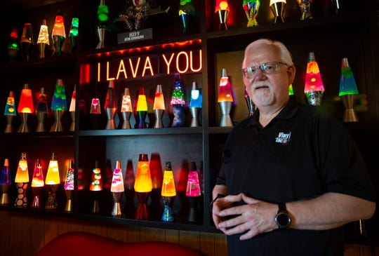 "The lava lamp wall at Vinyl Taco sits near the entrance to the Social Club, Tuesday, July 16. Co-owner of Vinyl Taco Kirk Keupp did not realize the photo opportunities that would come out of designing this wall when the Social Club opened in February. Keupp and his co-owners designed the restaurant to look ""like you're grandma's basement."""