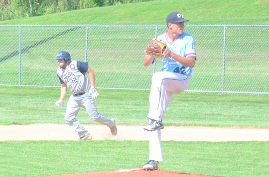 Logan Stone pitches against Volga in the opening round of the region tournament in Garretson on Tuesday, July 23.