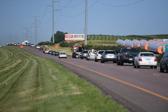 Traffic is down to one lane after a four vehicle crash on the east bound lane of Interstate 90, Tuesday, July 23, in Brandon, S.D.