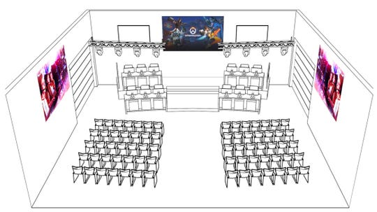 A drawing of the new esports arena being built at Shenandoah University in Winchester. It will serve as both a practice facility for its 35-member varsity team and as a public esports venue where spectators can watch weekly matches.
