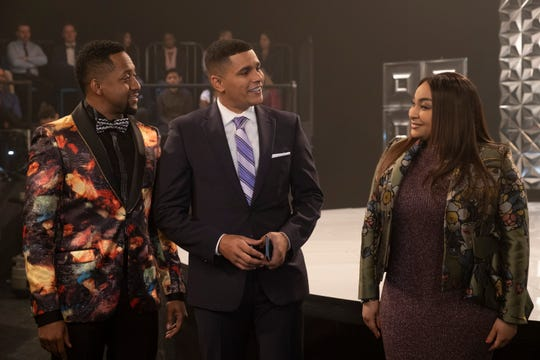 """A scene from """"Raven's Home,"""" episode 310, shows actors Jaleel White, Jonathan McDaniel and Raven-Symone."""
