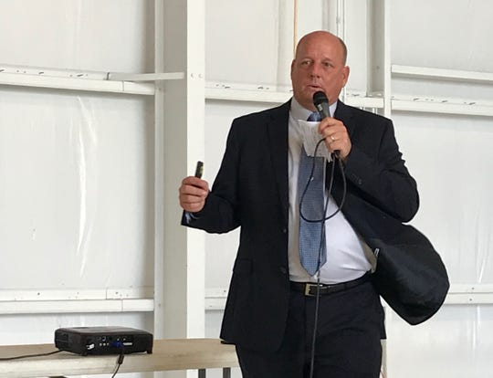 Tallahassee International Airport Director David Pollard talks about the facility's economic development plans during a Community Conversation event hosted by the Tallahassee Chamber of Commerce.