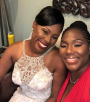 FAMU tennis coach Nikki Houston (left) shares a proud moment with her matron of honor Shavonne Brown. Both women were former teammates with the Rattlers and remain best friends.