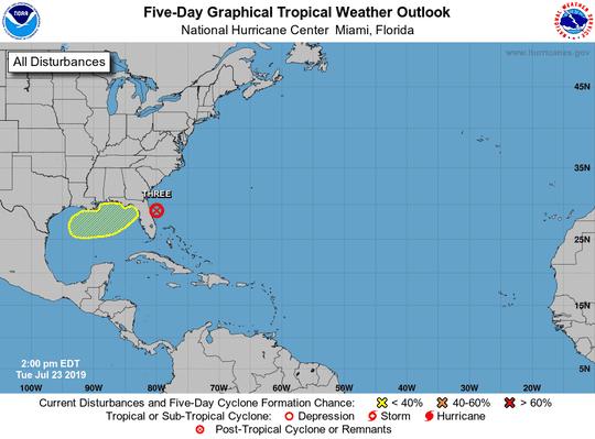 Tropical disturbance 2 p.m. July 23, 2019