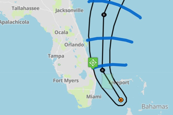 Tropical Depression Three's path brings it close to the east coast of Florida, and 1 to 3 inches of rain are expected.