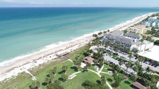 An aerial view of the beach from Humiston Park in Vero Beach.