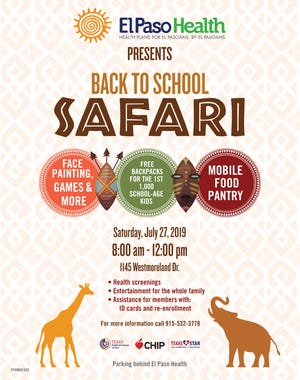 El Paso Health is hosting a Back to School Safari Health Fair Saturday, July 27