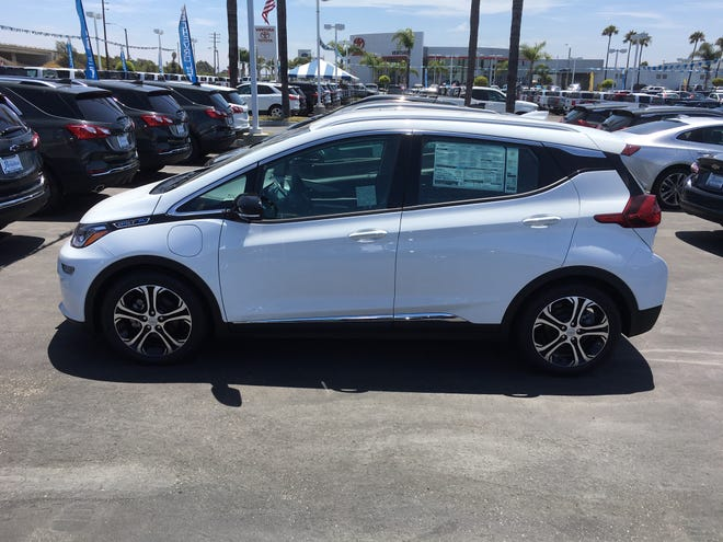 A Chevrolet Bolt similar to the ones the county is buying is parked at Paradise Chevrolet.