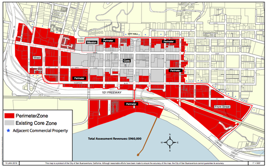 The expanded borders of the downtown property-based improvement district.