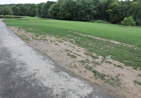 Newly laid sod turning brown in the 9th fairway at Maple Moor Golf Course in White Plains on Tuesday, July 23, 2019.