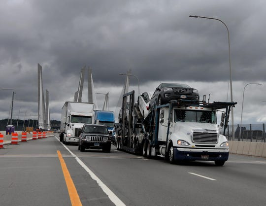 Rockland County bound trucks make their way over the Gov Mario M. Cuomo Bridge July 23, 2019.