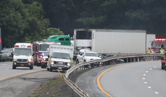 A crash involving cars and tractor-trailers on southbound Interstate 684 blocks two lanes in Goldens Bridge on July 23, 2019.