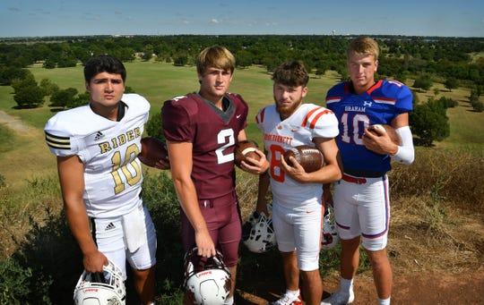 From left, Jacob Rodriguez of Rider, BT White of Vernon, Mason Duke of Burkburnett and Hunter Lanham of Graham.