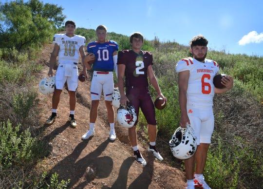 From left, Jacob Rodriguez of Rider, Hunter Lanham of Graham, BT White of Vernon, and Mason Duke of Burkburnett.