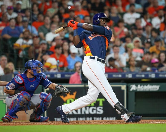 Alvarez drives in a run during Monday's game in Houston.
