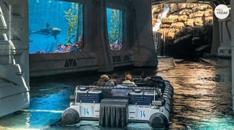 "From the Mosasaurus tank to Herbivore Valley, explore Universal Studio Hollywood's ""Jurassic World – The Ride."""