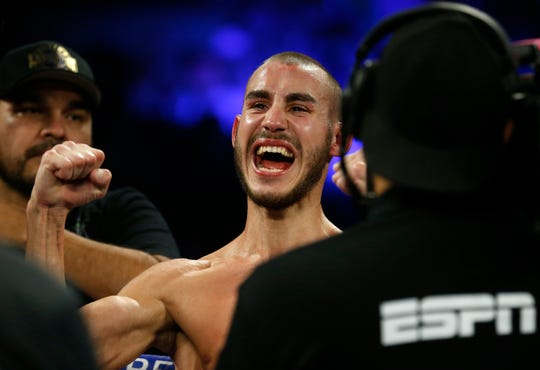 LAS VEGAS, NV - OCTOBER 20: Maxim Dadashev of Russia celebrates after being declared the winner of a super lightweight bout against Antonio de Marco of Mexico at Park Theater at Monte Carlo Resort and Casino in Las Vegas on October 20, 2018 in Las Vegas, Nevada. Dadashev won by unanimous decision. (Photo by Steve Marcus/Getty Images) ORG XMIT: 775220262 [Via MerlinFTP Drop]