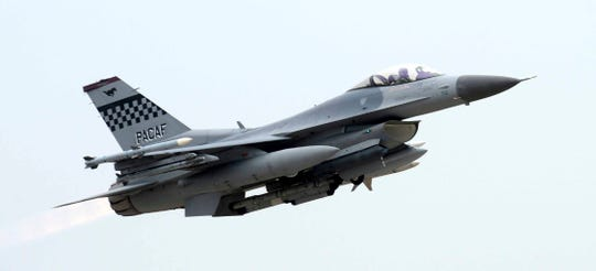 In this April 20, 2017, photo, a South Korean Air Forces' KF-16 fighter takes off at an air base in Gunsan, South Korea. South Korean air force jets fired 360 rounds of warning shots after a Russian military plane briefly violated South Korea's airspace twice on Tuesday, July 23, 2019, Seoul officials said, in the first such incident between the countries.