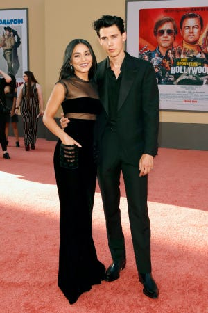 Austin Butler and Vanessa Hudgens arrive for the premiere of 'Once Upon a Time in Hollywood.'