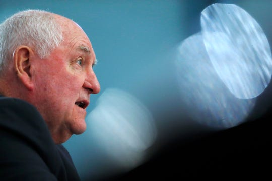 Agriculture Secretary Sonny Perdue testified in February during a House Agriculture Committee hearing, on Capitol Hill in Washington. Perdue appeared this week at Minnesota's Farmfest, where farmers pushed him to resolve trade battles with China.