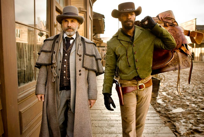 """Christoph Waltz (left) and Jamie Foxx are an unlikely duo on a mission of revenge in """"Django Unchained."""""""