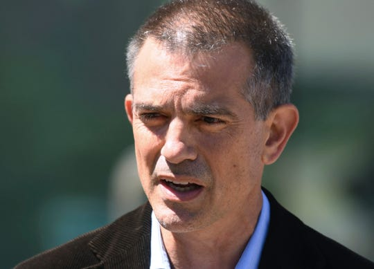 In this June 26, 2019 file photo, Fotis Dulos speaks after an appearance at Connecticut Superior Court in Stamford, Conn.