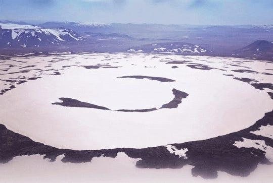 Gone forever: An aerial image of the former Okjökull glacier in Iceland.