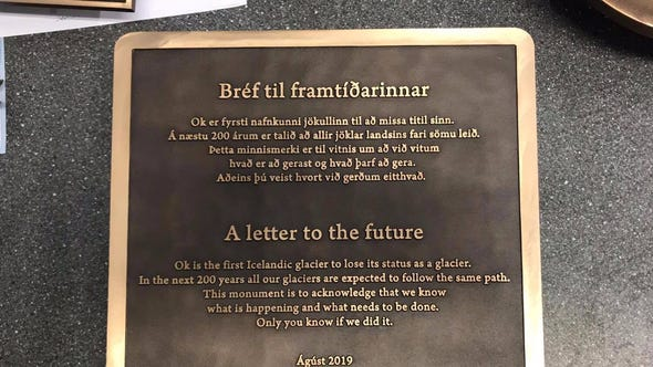 Iceland's first glacier lost to climate change will be remembered with a memorial plaque.