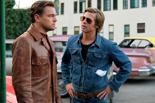 "Leonardo DiCaprio (left) stars as a washed-up TV star and Brad Pitt is his longtime stunt double in ""Once Upon A Time in Hollywood."""