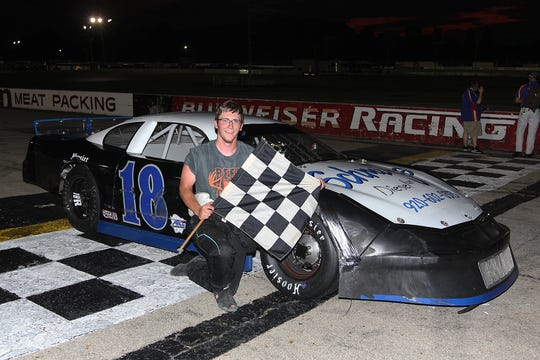 Oshkosh's Chase Randerson has become a quick learner on the pavement at Wisconsin International Raceway on Thursday nights. Randerson won the late model feature July 18.