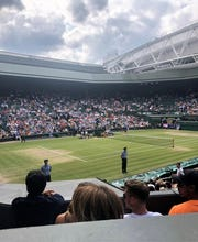 This is what Centre Court at Wimbledon looks like when you are a) there, b) have primo seats and c) cheering the Colombian doubles team.