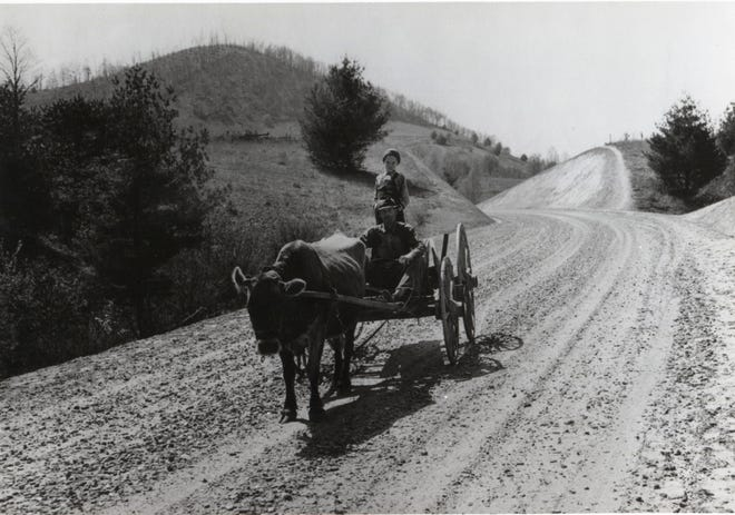 One form of mountain transportation, about 1935. Collection of photos of people in the Smoky Mountains during the 1920s, 1930s and 1940s.