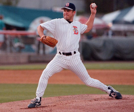 Binghamton Mets' pitcher Chris Roberts against the Portland Sea Dogs during the 1996 season.