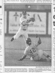 Doug Saunders turns a double play for the B-Mets in a game during the 1994 season.