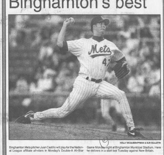 Binghamton Mets pitcher Juan Castillo in July 1994 against New Britain.