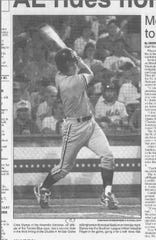 Chris Stynes of Knoxville hits a two-run triple in the Double-A All-Star Game at NYSEG Stadium in 1994.
