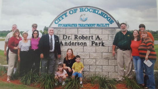 Family members pose during the dedication of Dr. Robert A. Anderson Stormwater Park in Rockledge.