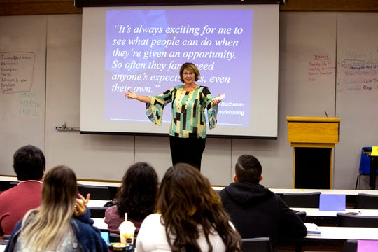 Robin Ritchey-Roy, program director of the Emerging Professionals internship program, talks with high school students during the six-week summer session portion of the  program at Del Mar College on Wednesday, July 24, 2019. The summer session prepares the students for paid internships with a variety of companies throughout the school year. The students receive workforce training and experience through their internships as well as mentoring.
