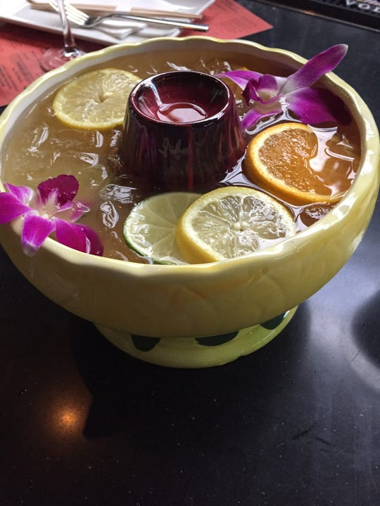 A flaming scorpion bowl from the bar at Kaze in Over-the-Rhine
