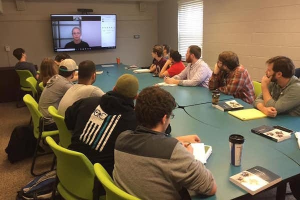 APSU students meet in the McReynolds Building to take advantage of video-conferencing software.