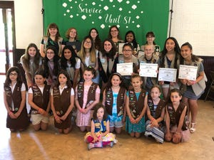 Girl Scout Service Unit 81. Those pictured were among the award recipients as well as those who advanced to the next level in scouting.