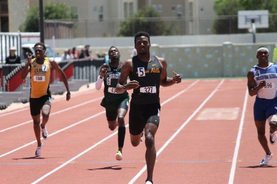 Kenny Bednarek, in lane five, competes at the NJCAA outdoor track and field championships in May. This week, the former Indian Hills star will run in the 200-meter dash at the Toyota U.S. Outdoor Track and Field Championships in Des Moines.